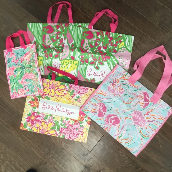Lot of 6 Lilly Pulitzer Shopping Bags